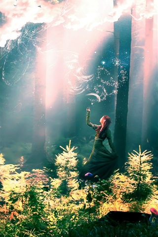 iPhone Wallpaper Fairy girl in the forest
