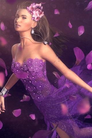 iPhone Wallpaper Fantasy girl purple petals