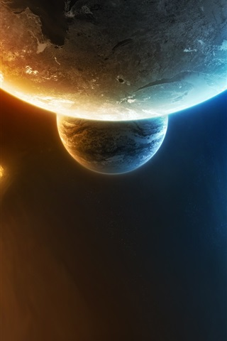 iPhone Wallpaper Half of the cold, half of the flame space
