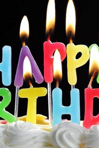 iPhone Papéis de Parede Bolo de aniversário feliz e velas