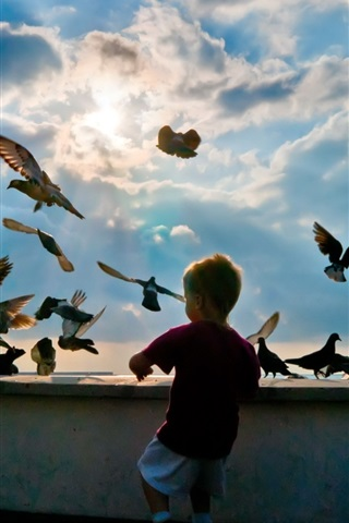iPhone Papéis de Parede Garotinho com pombos