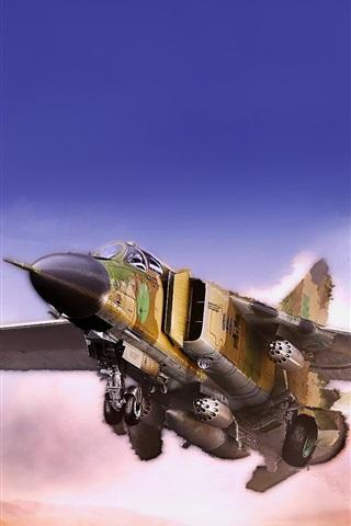 iPhone Wallpaper MiG fighter flying in the desert