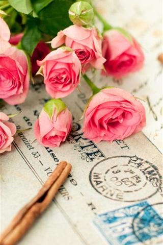 iPhone Papéis de Parede Rosas e uma carta