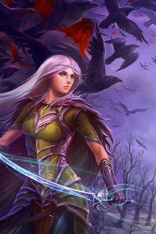 iPhone Wallpaper Purple hair fantasy girl holding sword
