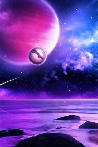 iPhone Wallpaper Purple planet meteors in space