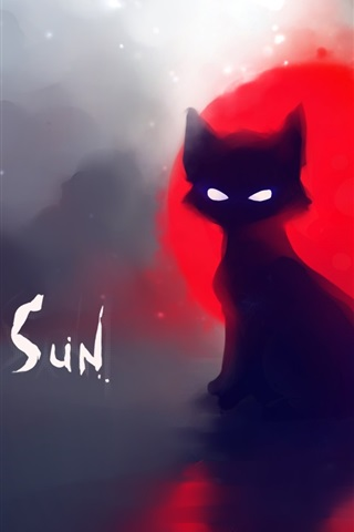 iPhone Wallpaper Red sun black cat painting