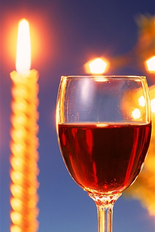 iPhone Wallpaper Warm candlelight and delicious wines