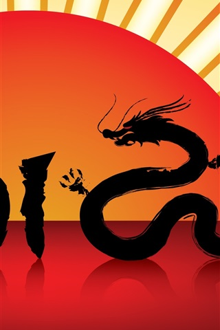 iPhone Wallpaper Year of the Dragon 2012