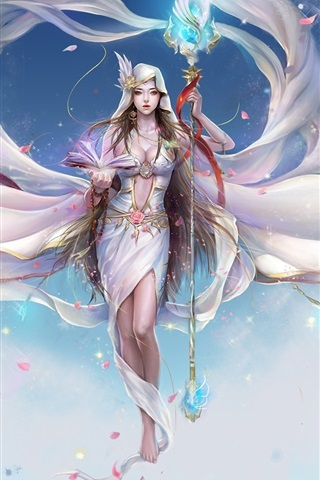 iPhone Wallpaper Artistic creation white fairy girl