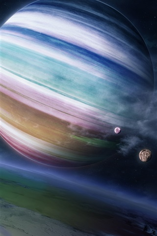 iPhone Обои Красочные газовой планеты-гиганта