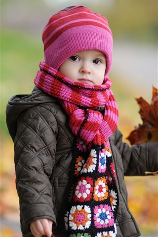 iPhone Wallpaper Cute baby in autumn