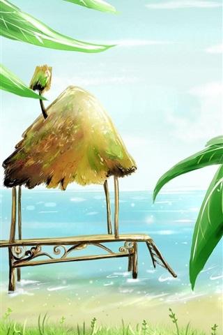 iPhone Wallpaper Palm beach cabins sea bird vector painting