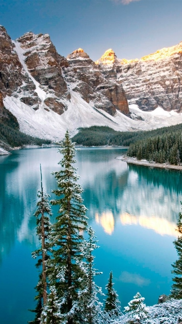 Winter Lake In Alberta Canada 640x1136 Iphone 5 5s 5c Se Wallpaper