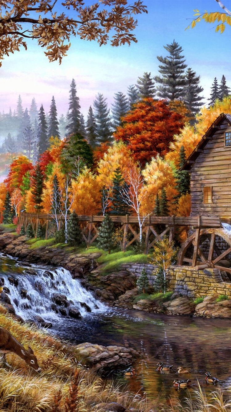 Home In The Forest Oil Painting 750x1334 Iphone 8 7 6 6s Wallpaper