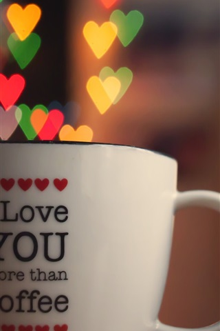 iPhone Wallpaper Love hearts filled the cup