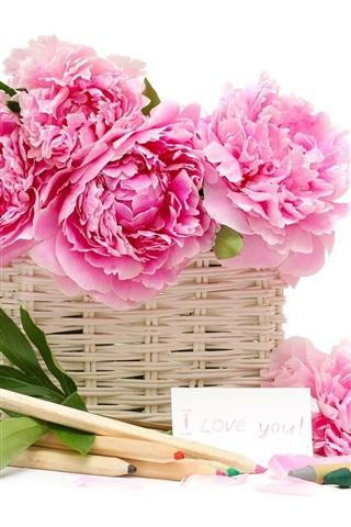 iPhoneの壁紙 シャクヤクの花のバスケット鉛筆クレヨン