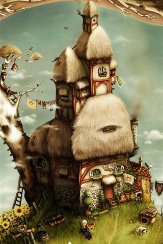 iPhone Wallpaper Tree house art fantasy