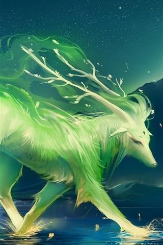 iPhone Papéis de Parede Arte de pintar um animal verde
