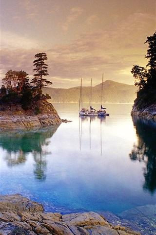 iPhone Wallpaper Evening lake views