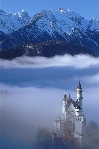 iPhone Wallpaper German landscape, castle in the clouds