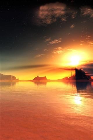 iPhone Wallpaper Red lake sunset