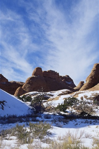 iPhone Wallpaper American landscape, snow-capped mountains in winter