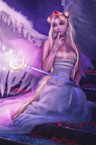 iPhone Wallpaper Angel girl purple style