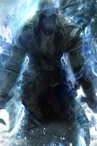 iPhone Wallpaper Assassin's Creed 3 blue style