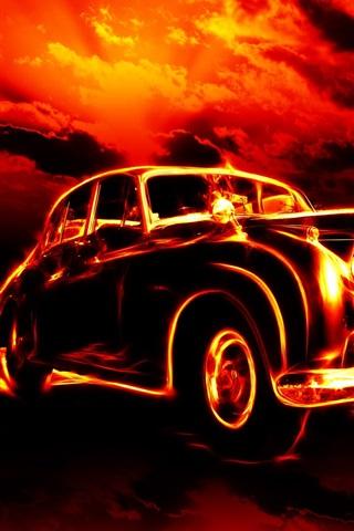 iPhone Wallpaper Fire car creative
