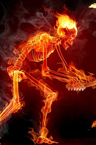 iPhone Wallpaper Flame Skull guitarist speaker
