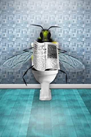 iPhone Wallpaper Flies in the toilet reading the newspaper
