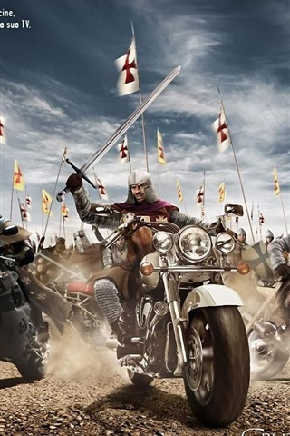 iPhone Wallpaper Motorcycle knight in the ancient war