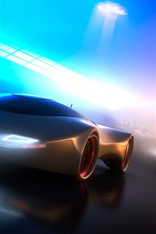 iPhone Wallpaper Neon light concept car