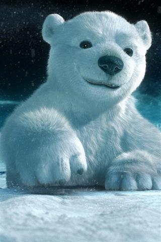 iPhone Wallpaper 3D animal paintings, polar bear