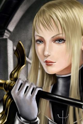 iPhone Wallpaper Blond girl warrior fantasy