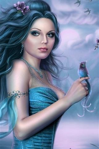 iPhone Wallpaper Blue skirt fantasy girl and kingfisher