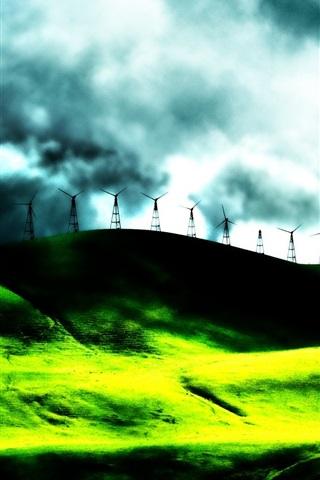 iPhone Wallpaper Dream landscape electricity windmill