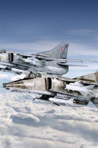 iPhone Wallpaper Fighter MiG-27