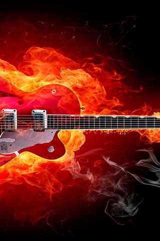iPhone Wallpaper Fire guitar creative