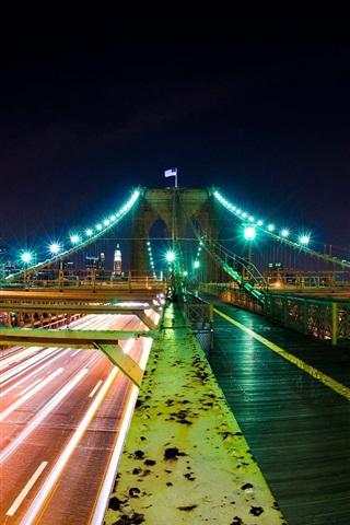 iPhone Wallpaper Night city bridge