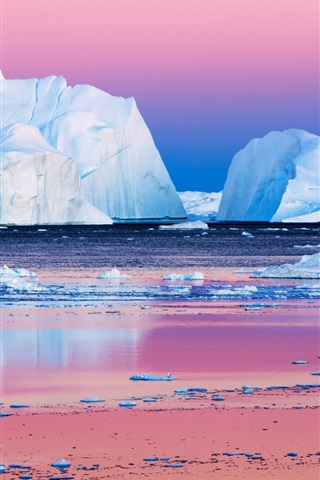 iPhone Wallpaper The icebergs beauty in the Arctic sunset