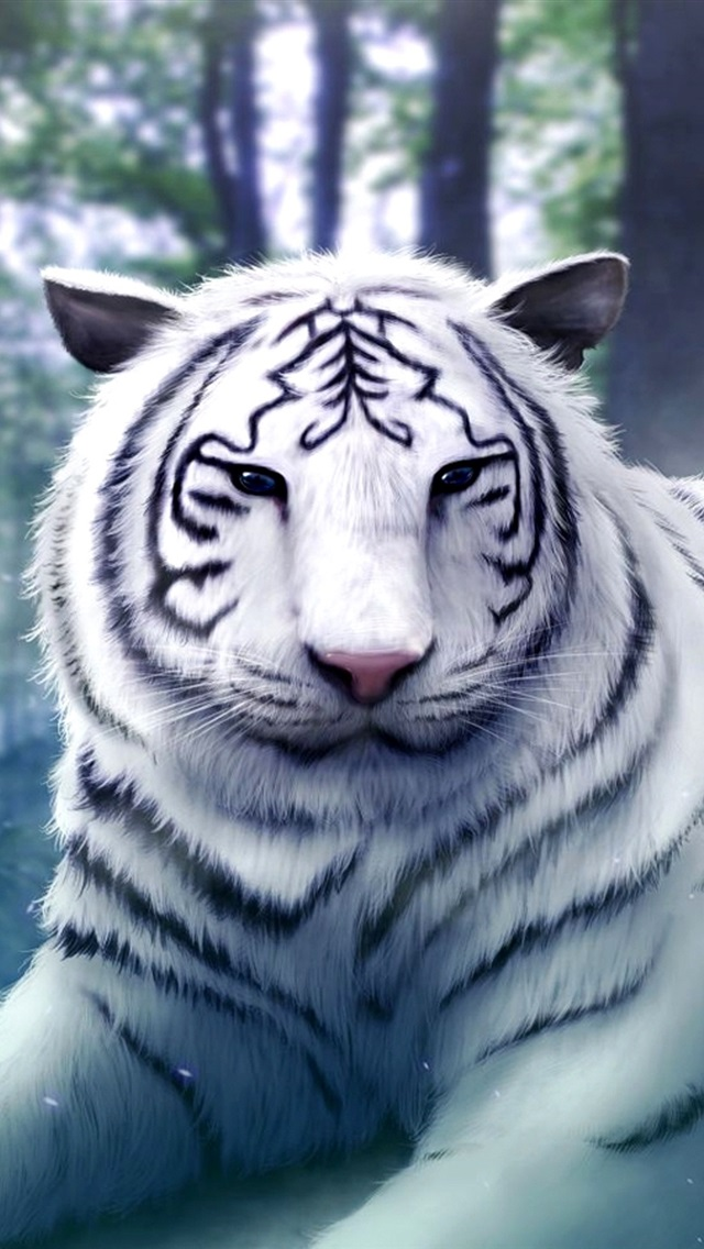 Wizard Girl With The White Tiger 750x1334 Iphone 8 7 6 6s