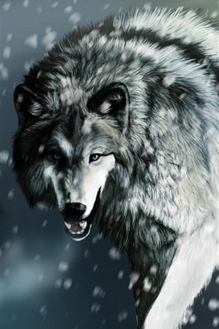 iPhone Wallpaper Wounded wolf in the winter