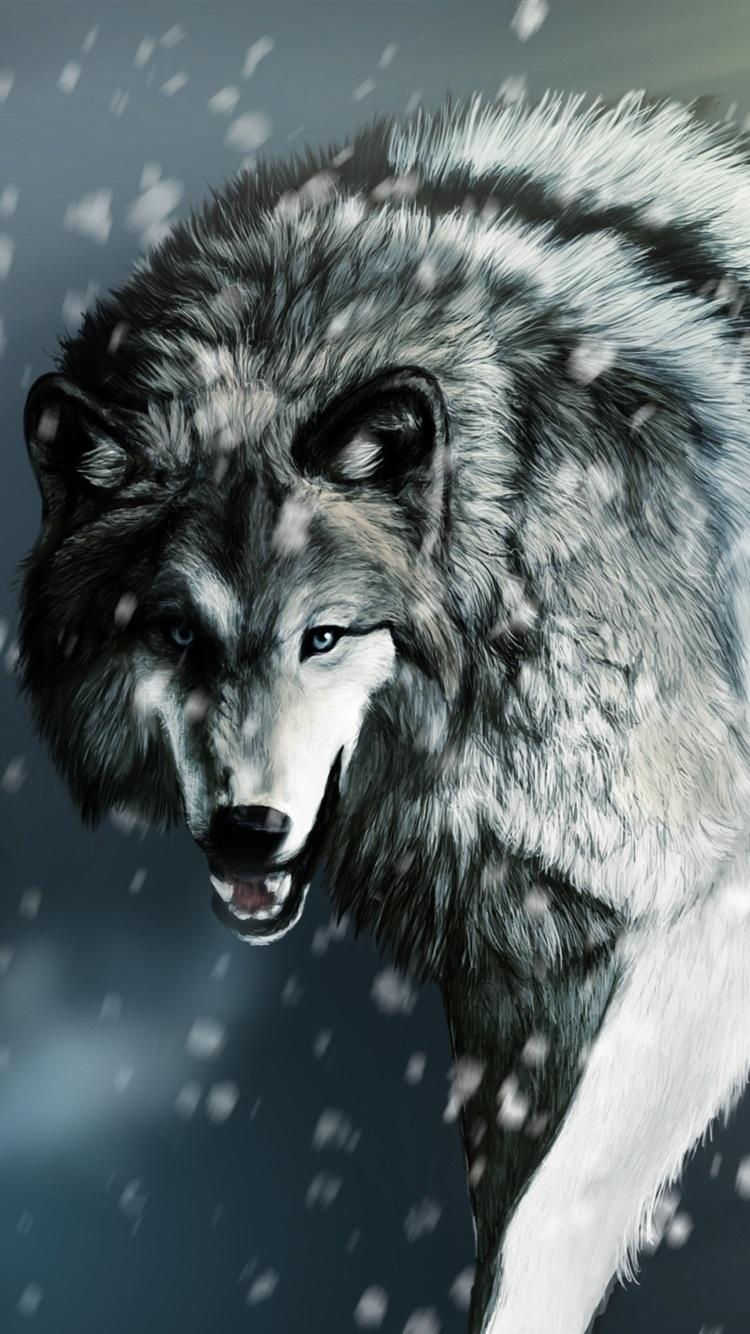冬に負傷したオオカミ 750x1334 Iphone 8 7 6 6s 壁紙 背景 画像