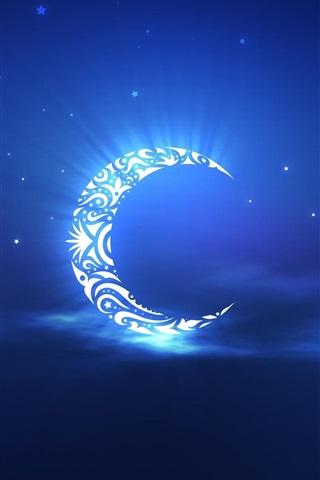 iPhone Wallpaper Artistic creation, the crescent moon in the sky