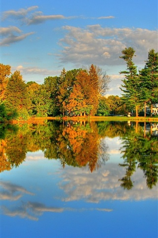 iPhone Wallpaper Autumn Lake and Maple HDR landscape