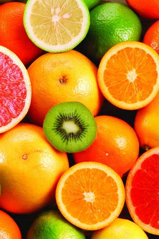 iPhone Wallpaper Delicious fruit, oranges and kiwi fruit