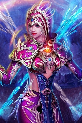 iPhone Wallpaper Purple fantasy girl, the magic of Ice and Fire