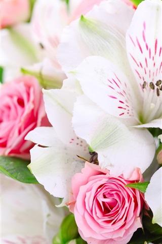 iPhoneの壁紙 花束の花、ピンクのバラ、白蘭