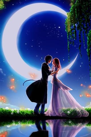 iPhone Wallpaper Art paintings, moonlight dating boyfriend and girlfriend